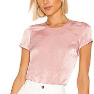 Lovers + Friends Shimmer Tee Blush Pink Top S